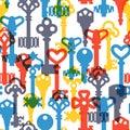 Vintage keys seamless pattern vector.