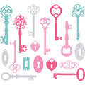 Vintage Keys Silhouette.Pink,Blue,Grey Royalty Free Stock Photo