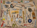 Vintage kitchen utensils collage over old paper Stock Photography