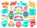 Vintage label banner tag sticker badge vector set Royalty Free Stock Photo
