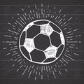 Vintage label, Hand drawn Football, soccer ball sketch, grunge textured retro badge, typography design t-shirt print, vector illus Royalty Free Stock Photo