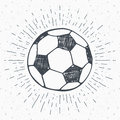 Vintage label, Hand drawn Football, soccer ball sketch, grunge textured retro badge, typography design t-shirt print, vector illus Royalty Free Stock Photo