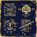 Vintage label with knife anchor arrow t shirt print Royalty Free Stock Photo