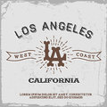 Vintage label with los angeles monogram t shirt print Stock Photo