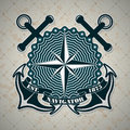 Vintage label with a nautical theme the vector image Royalty Free Stock Photos