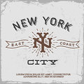 Vintage label with new york city monogram t shirt print Royalty Free Stock Image