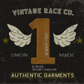 Vintage label with number one Royalty Free Stock Photo