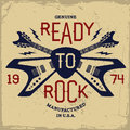 Vintage label with ready to rock and guitar t shirt print Royalty Free Stock Image