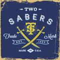 Vintage label with saber and monogram t shirt print Royalty Free Stock Photography