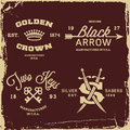 Vintage labels with crown arrow and saber t shirt print Royalty Free Stock Photos