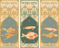 Vintage labels: fish Stock Photography