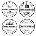 Vintage labels of green market with tractor and vegetable set vegetables Royalty Free Stock Images