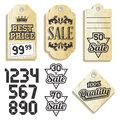 Vintage labels on recycled paper set Royalty Free Stock Photo