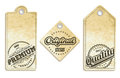 Vintage labels on recycled paper set Royalty Free Stock Photos