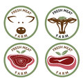 Vintage labels set fresh meat Stock Photography