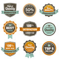 Vintage labels set premium qaulitty guaranteed best chois discount etc vector design elements Royalty Free Stock Images