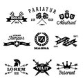 Vintage labels with shield crown arrow helmet Royalty Free Stock Photo