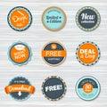Vintage labels template set. Vector retro badges