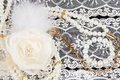 Vintage lace with flower and beads Royalty Free Stock Photo