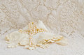Vintage Lace handkerchief and Pearls Royalty Free Stock Photo