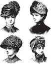 Vintage Ladies with hats vector illustration