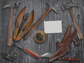 Vintage ladies shoe and shoemakers tools Royalty Free Stock Photo