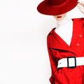 Vintage lady fashionable style in a red cloak and hat Royalty Free Stock Photo