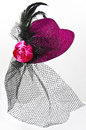 Vintage lady s hat with a black veil isolated bright pink on white carnival costume accessory Royalty Free Stock Photos