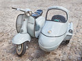 Vintage lambretta sidecar scooter at rally innocenti day of club umbria on june in bertinoro fc italy Royalty Free Stock Photography