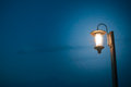 Vintage lamp post at dark night with clear sky Stock Image