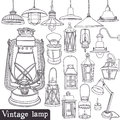 Vintage lamp set old gasoline lamps and Stock Photo
