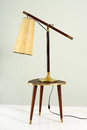 Vintage Lamp on Small Wood and Brass Table Royalty Free Stock Photo