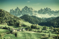 Vintage Landscape with Mountains Royalty Free Stock Photo