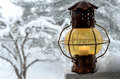 Vintage lantern against the winter garden Royalty Free Stock Photography