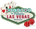 Vintage Las Vegas Sign Logo with Dice and Playing Cards Royalty Free Stock Photo