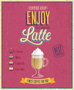 Vintage Latte Poster. Royalty Free Stock Photo
