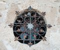 Vintage lattice beautiful wrought iron that adorns one of the oldest buildings of jaffa Royalty Free Stock Photography