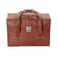 Vintage leather bag brown used on white Royalty Free Stock Images