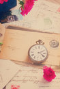 Vintage letter with old clock copy space and retro toned Royalty Free Stock Photo