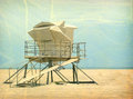Vintage lifeguard tower Stock Photo