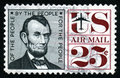 Vintage Lincoln USA 25c Stamp Royalty Free Stock Photo