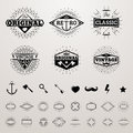Vintage lines insignia set with star burst. Vector hipster printing bursting retro logo collection Royalty Free Stock Photo