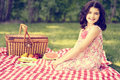 Vintage little girl having a picnic Royalty Free Stock Photo