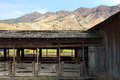 Vintage Livestock Holding Pens and Mountains Royalty Free Stock Photos