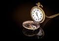 Vintage locket clock gold copper pocket on black background Royalty Free Stock Photo