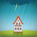 Vintage lonely house on the rain Stock Photo