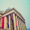 Vintage look national gallery london looking the trafalgar square uk Stock Photo
