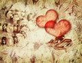 Vintage love background with wedding rings Stock Photos