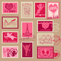 Vintage love valentine stamps design invitation scrapbook Royalty Free Stock Photo