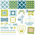 Vintage love and wedding set scrapbook design elements in Royalty Free Stock Photography